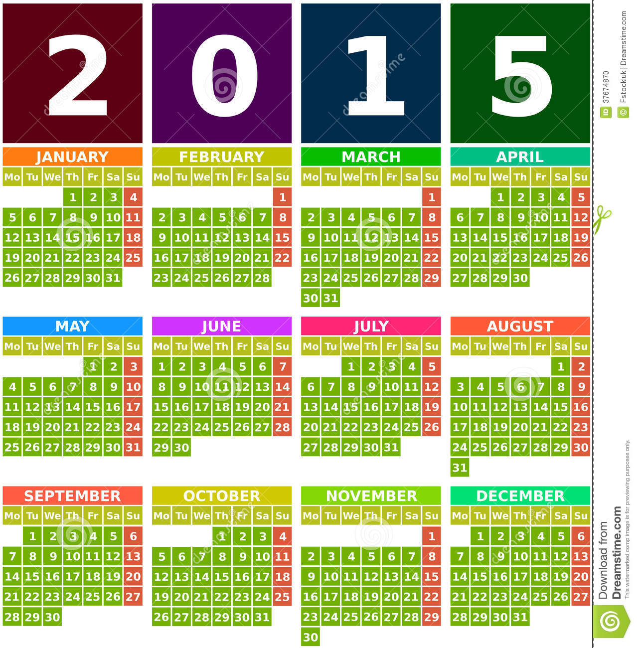 colored 2015 calendar in flat design with simple square