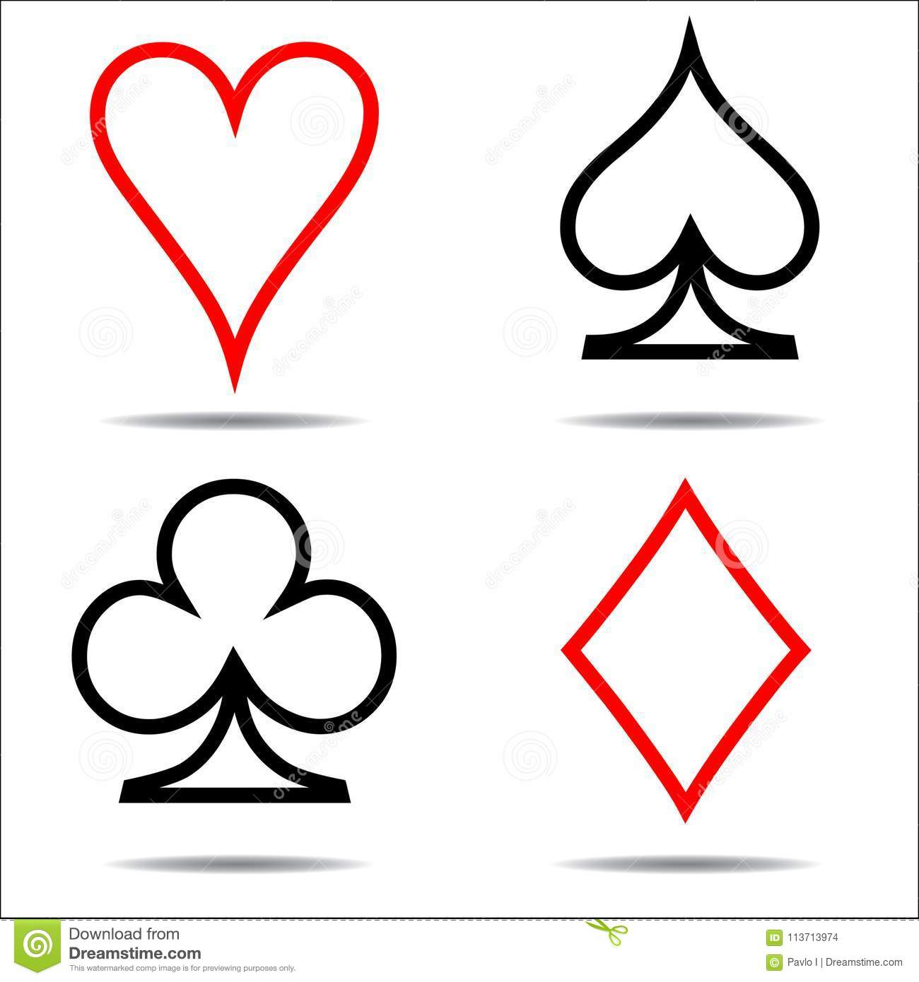 Colored card suit icon vector, playing cards symbols, one line