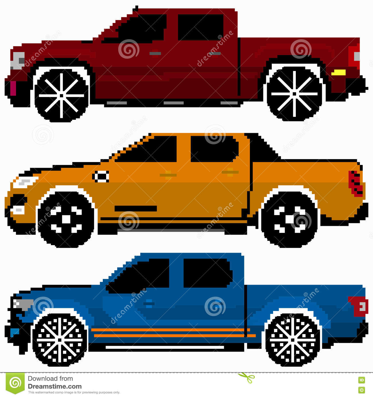 Colored Cars Collection Vector Pixel Art Stock Vector