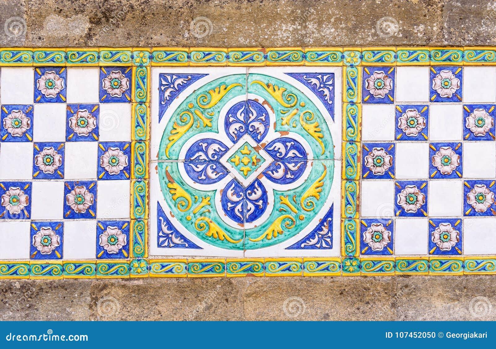 Colored ceramic tiles in caltagirone sicily italy stock photo colored ceramic tiles in caltagirone sicily italy dailygadgetfo Images