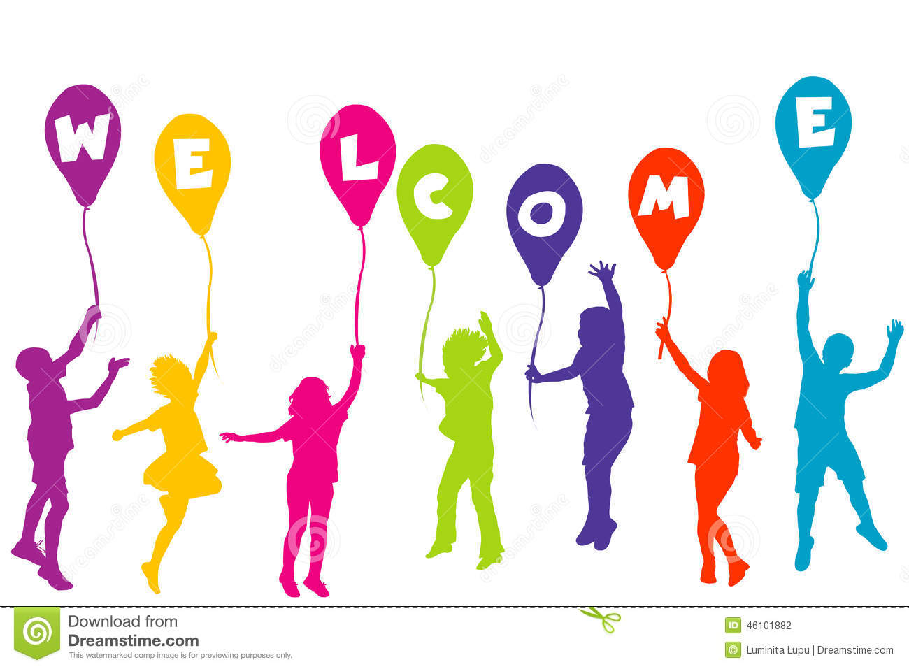 Colored Children Silhouettes Holding Balloons With Letters