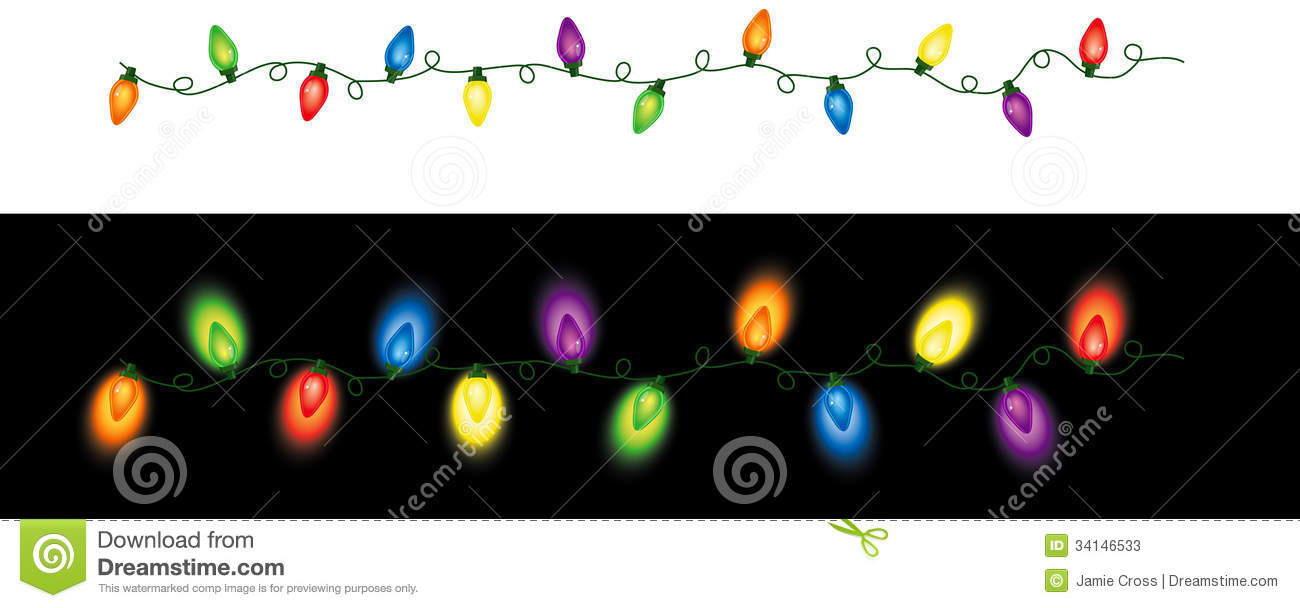 Series of colored holiday (Christmas) lights in a seamless repeating ...