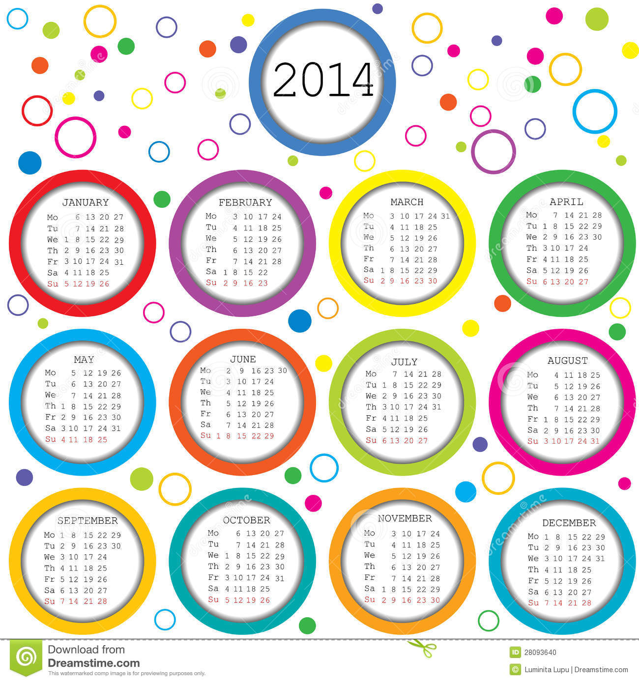 Colored circles and dots 2014 calendar for kids.