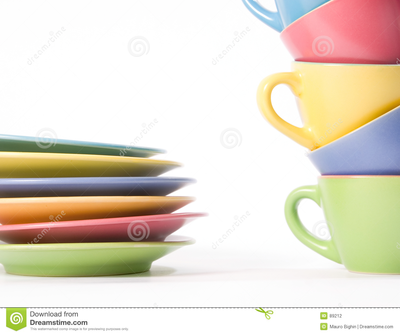 Colored coffee cups and dishes
