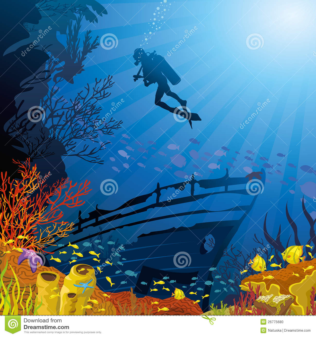 Coral Reef Background: Colored Coral Reef With Fish And Diver Stock Illustration