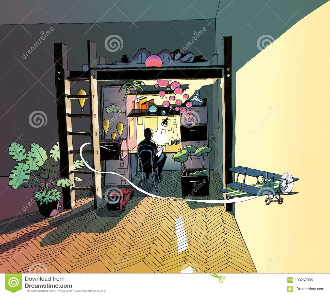 Colored Drawing Of Illustrator S Night Shift Stock Illustration