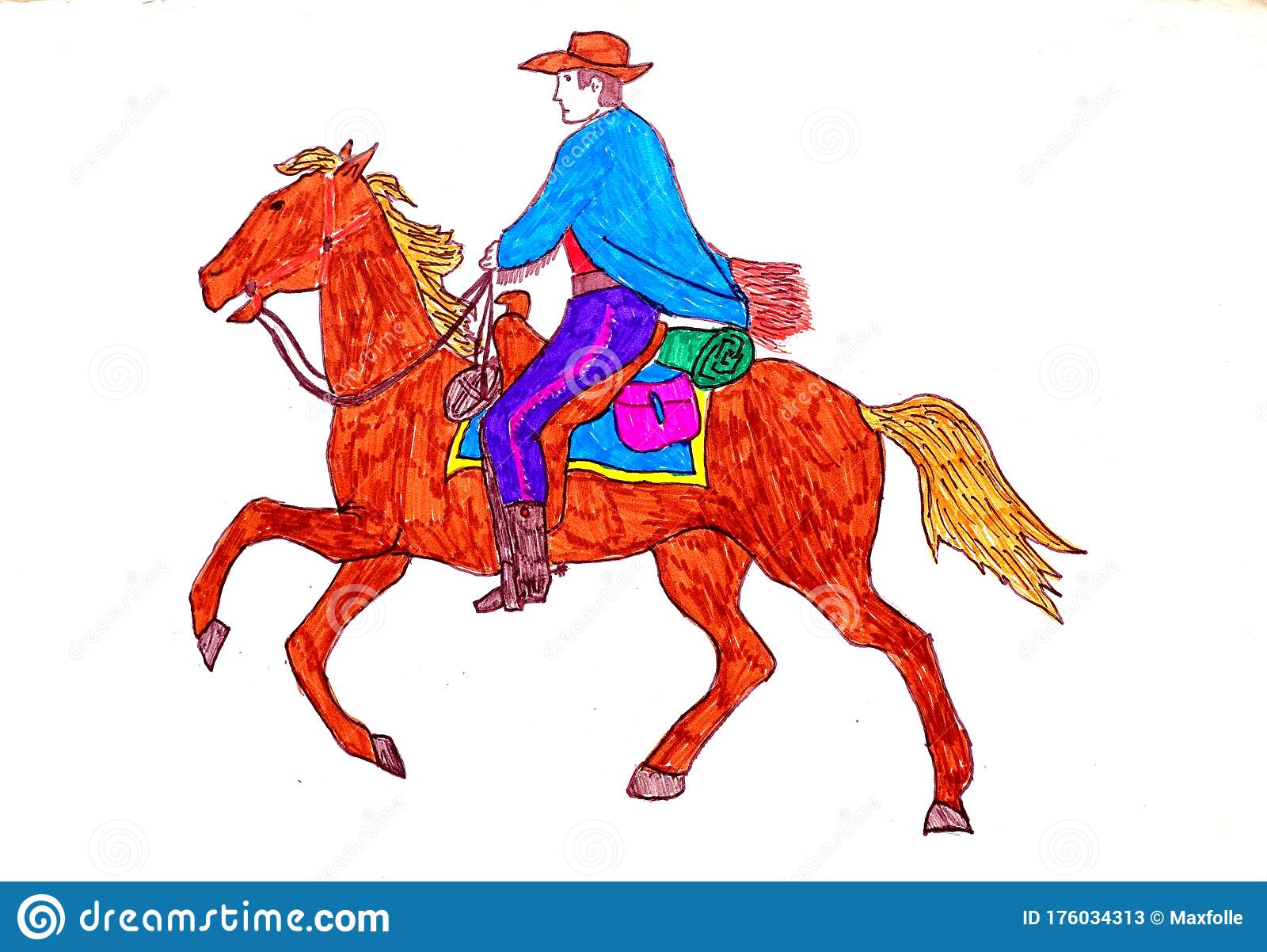 A Cow Boy With His Palomino Horse Stock Illustration Illustration Of Breeding Background 176034313