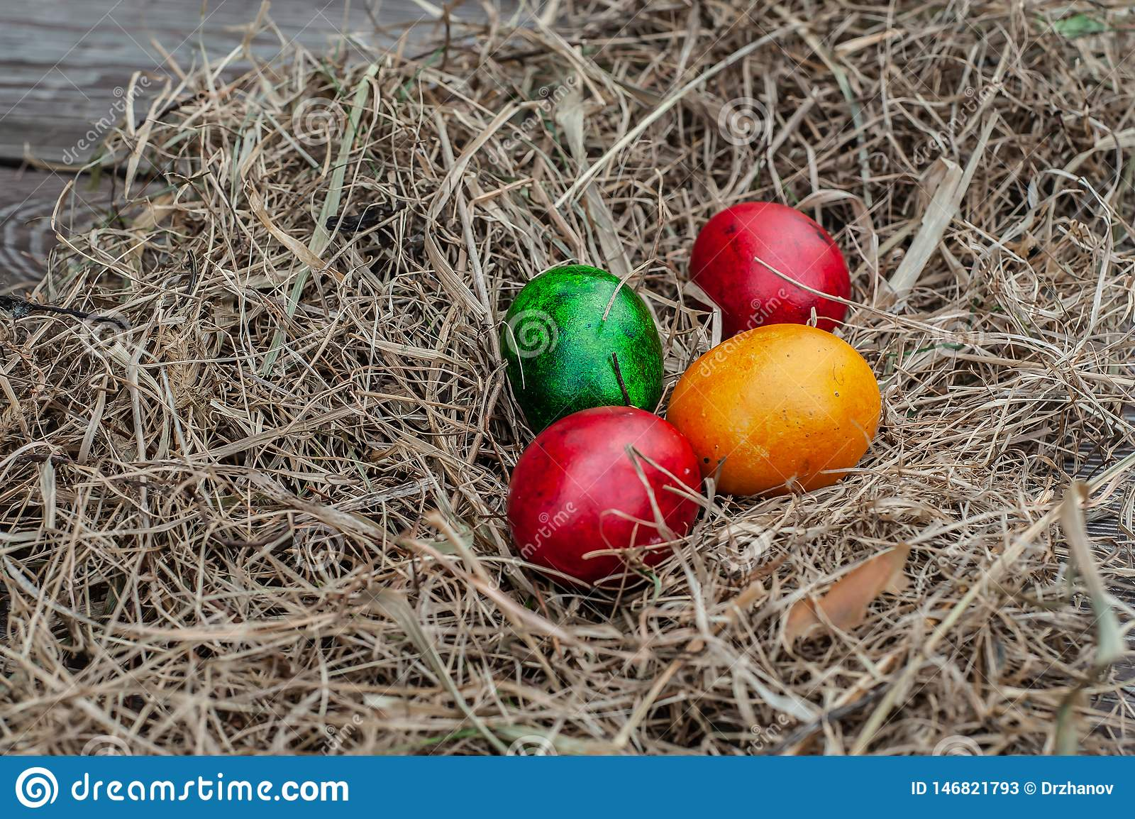 4 colored Easter eggs lays in the dry hay on the wooden aged board