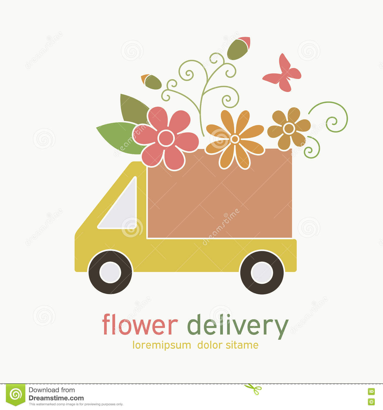 Colored Emblem Of Flower Delivery Truck Stock Vector Illustration