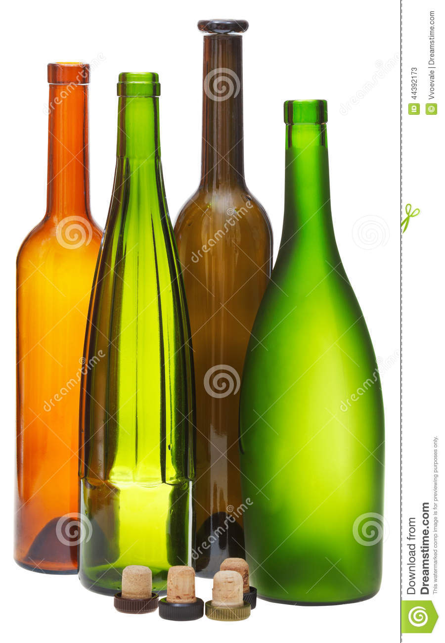 Colored empty open wine bottles and cork stock photo for Colored glass bottles with corks