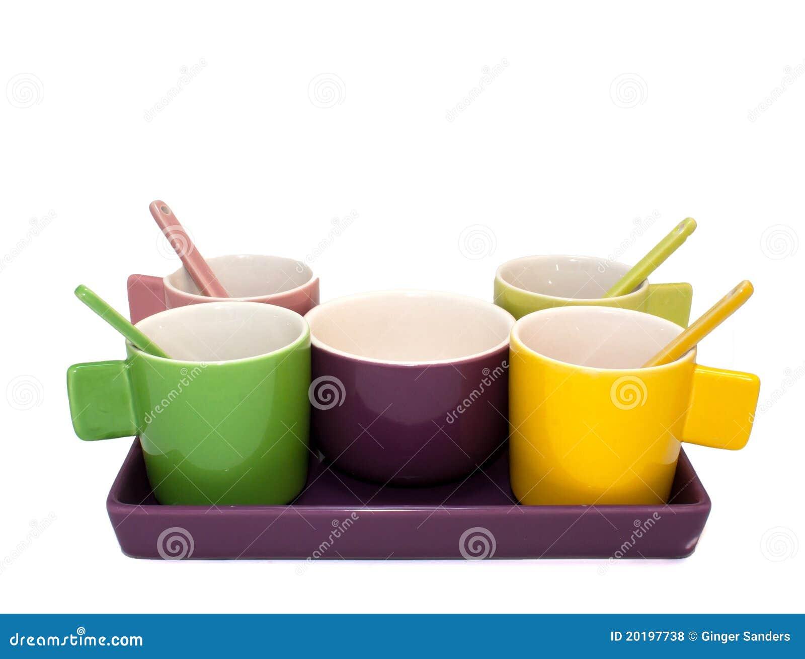 Colored Espresso Coffee Cup Set on White