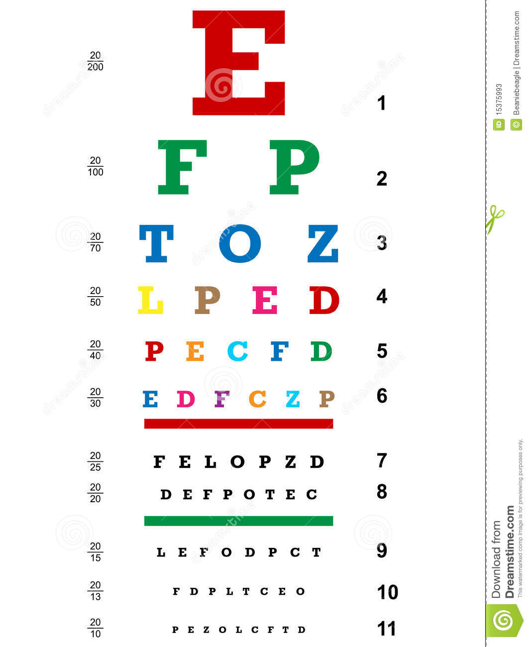 Colored Eye Chart Eps Stock Vector Illustration Of Focus 15375993