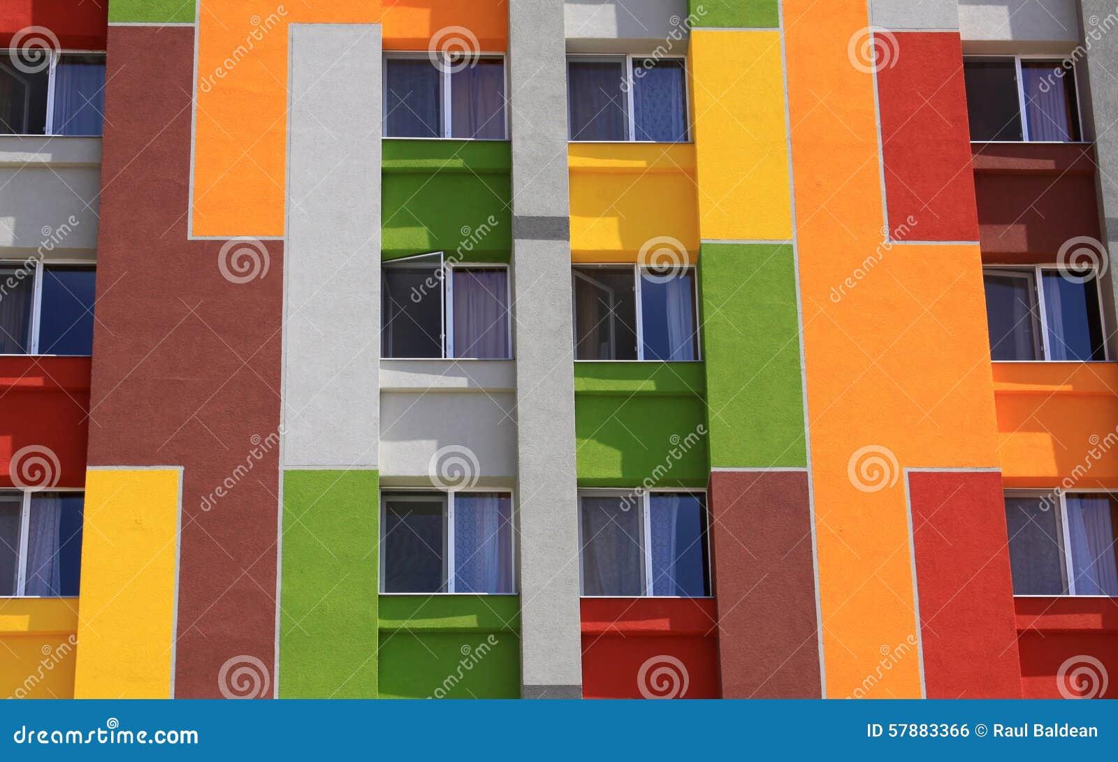 Colored facade of an apartment building