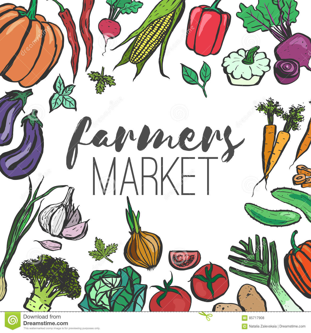 Colored Farmers Market Frame Stock Vector - Illustration of fruit ...