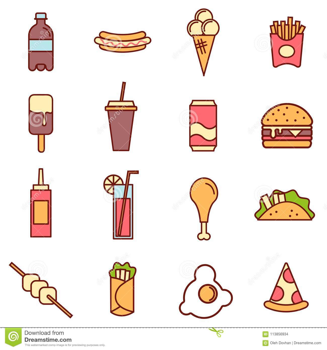 Colored Fast Food Linear Icons Collection Fast Food Flat