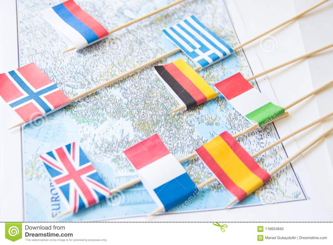 Map Of England France And Spain.Colored Flags Of Europian Countries On A Map France Italy England