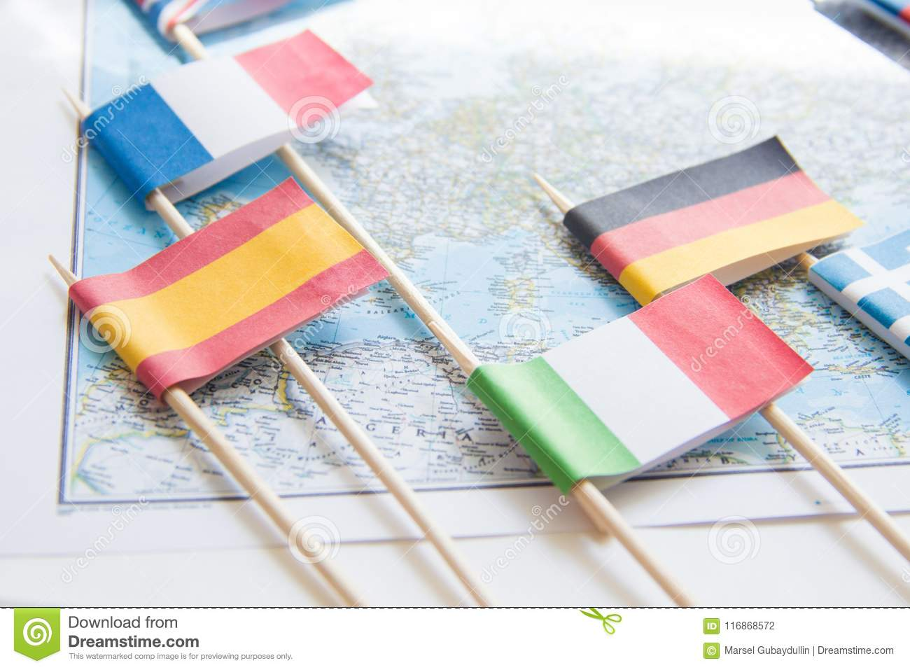 Map Of Spain And Greece.Colored Flags Of Europian Countries On A Map France Italy England