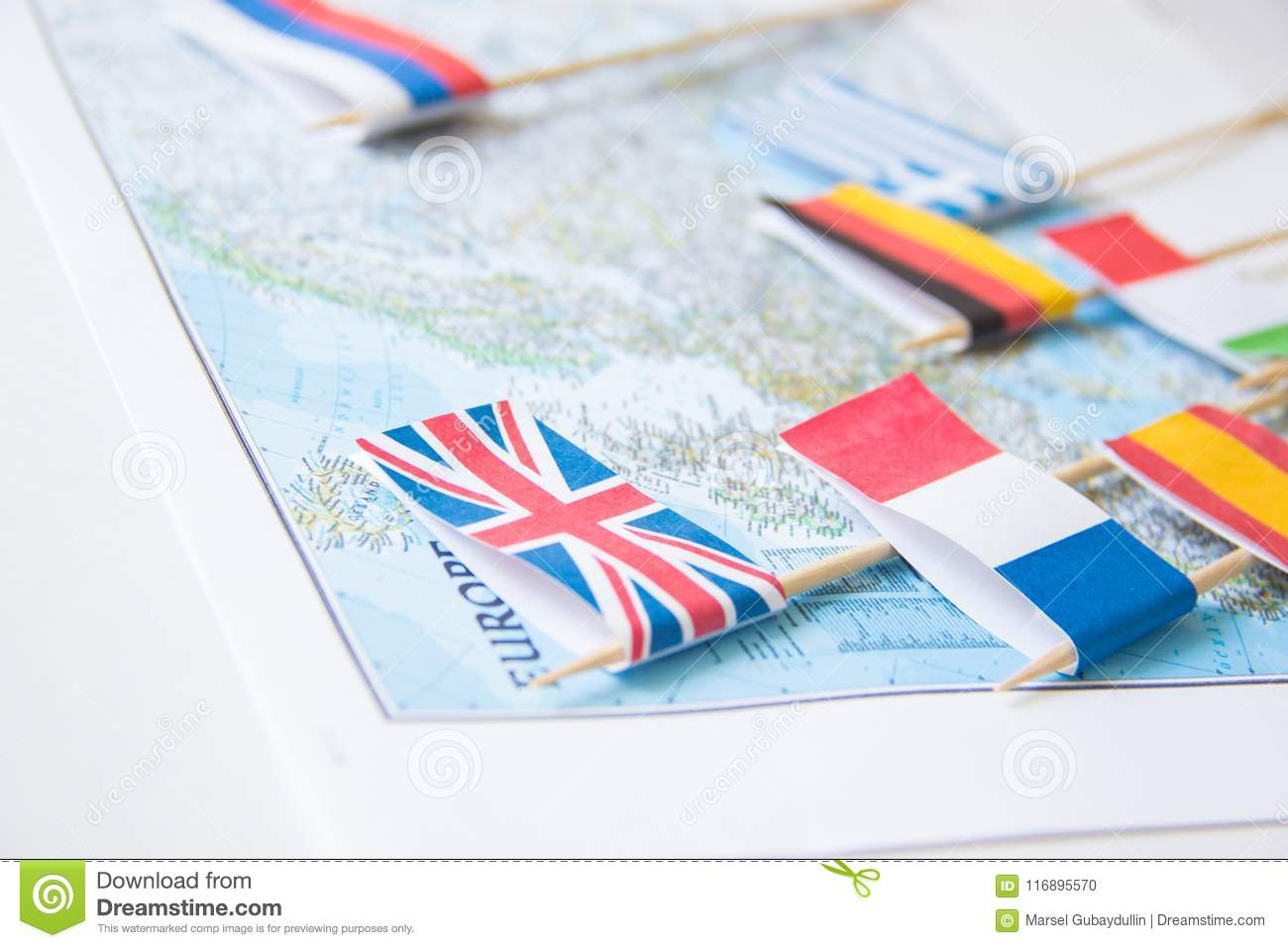Colored Flags Of Europian Countries On A Map: France, Italy, England ...