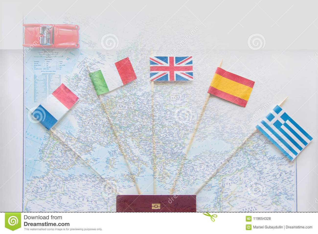 Colored Flags On The Map Of Europe: France, Italy, England UK, Spain ...