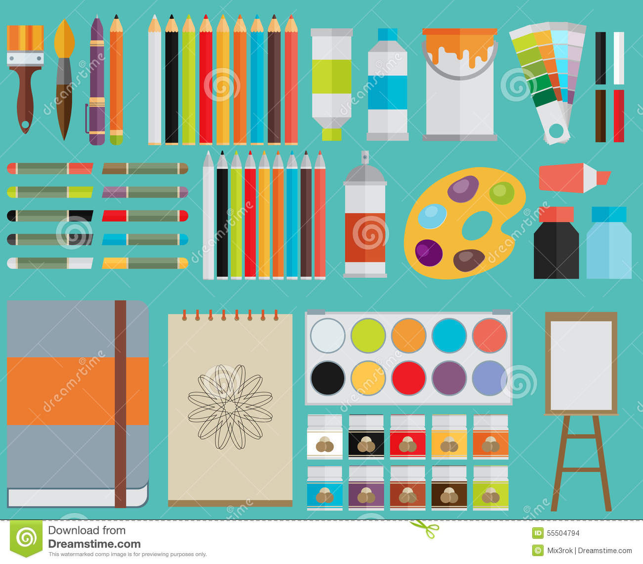 Colored Flat Design Vector Illustration Icons Set Stock
