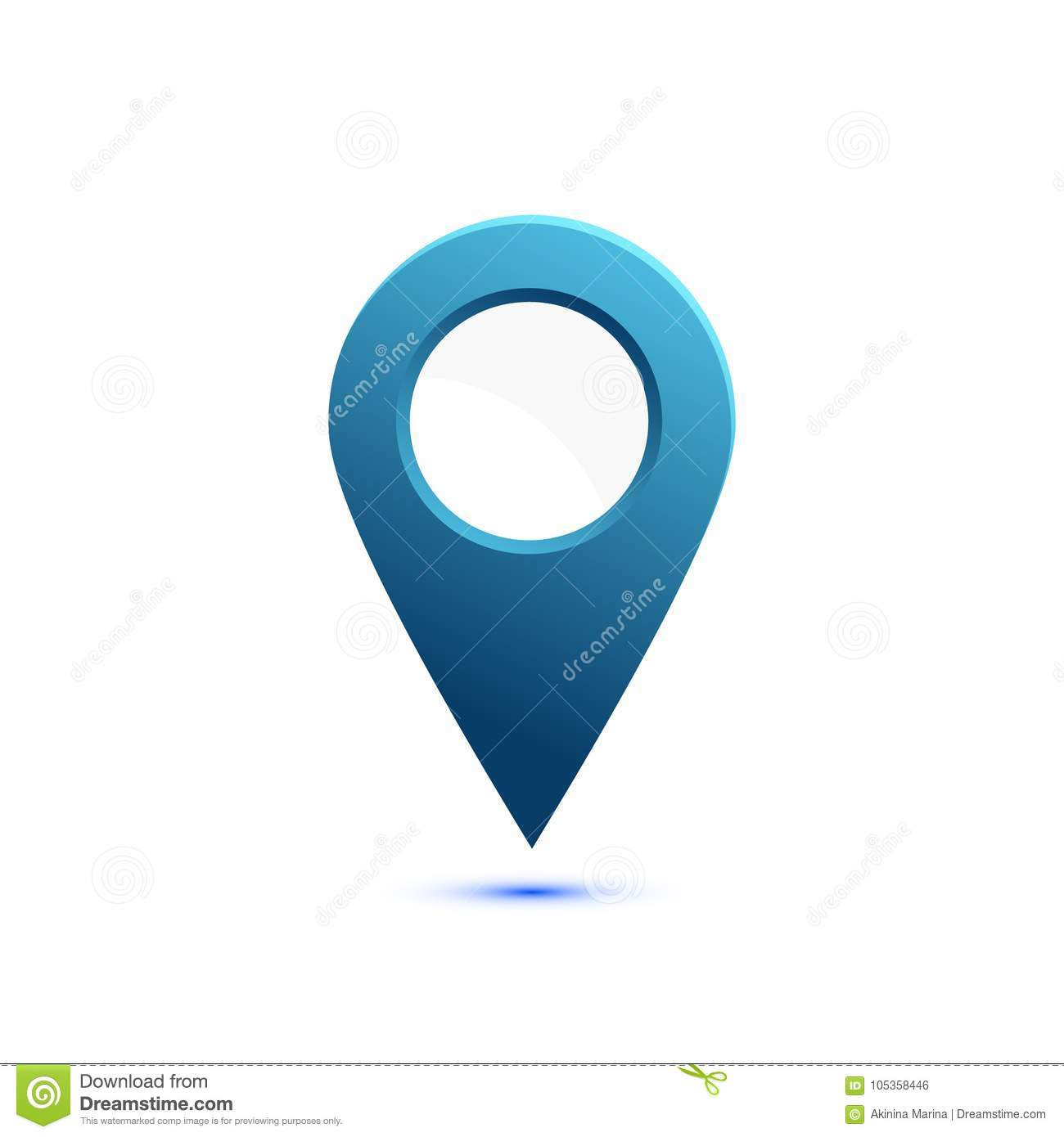Colored flat icon, vector design with shadow. Map pointer with White circle for text. Simple marker