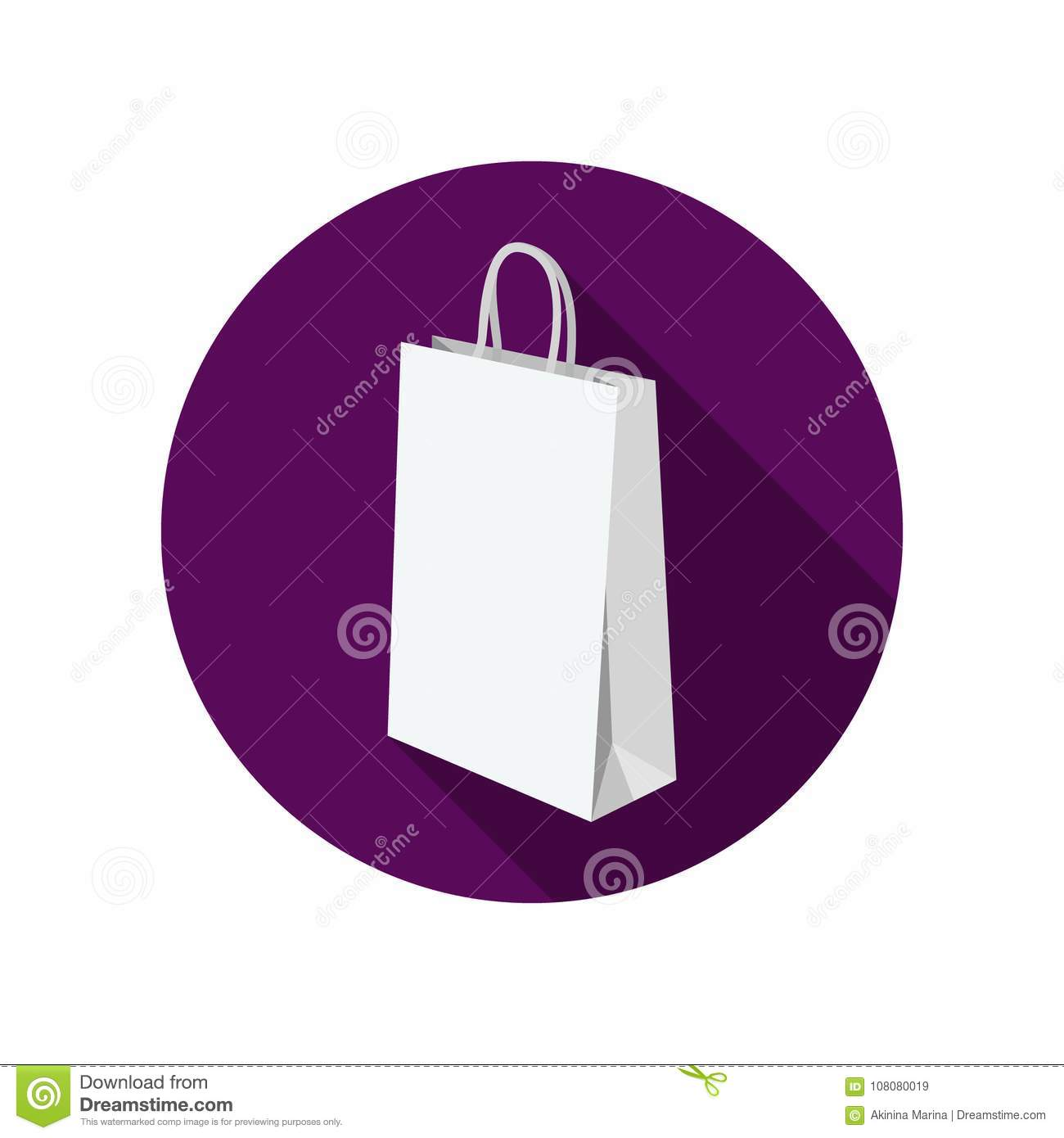 7ebf59750f Colored flat round icon, vector design with shadow. Empty white paper bag  mockup.