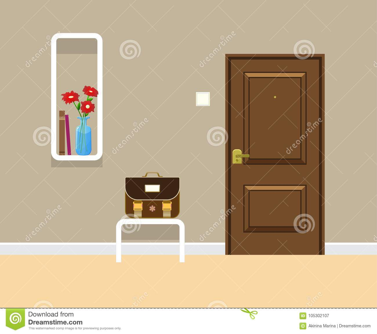 Colored Flat Vector Design With Shadow Entrance Door Rectangle Bookshelf On The Wall