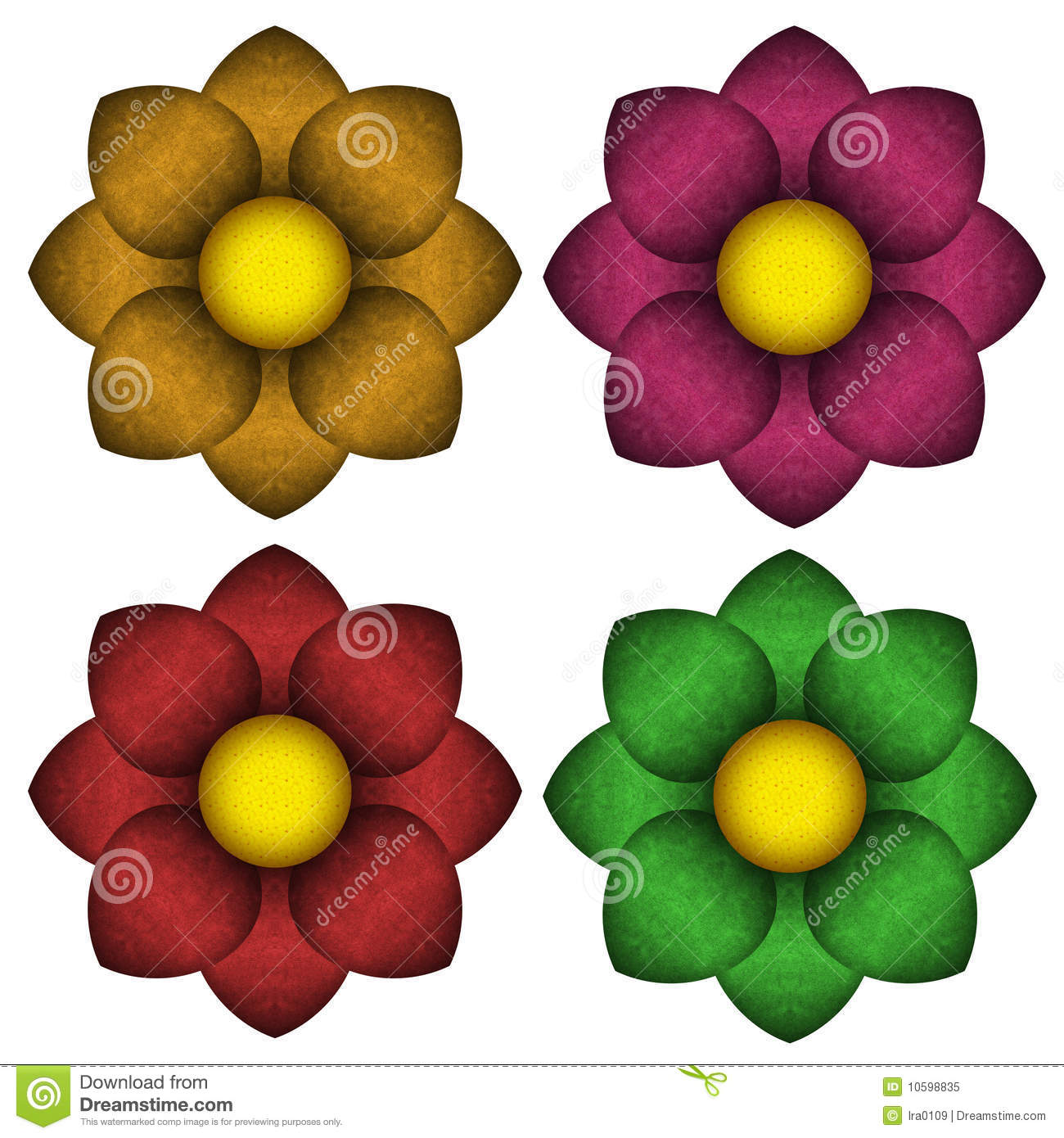 Colored Flowers With A Velvet Texture Stock Illustration