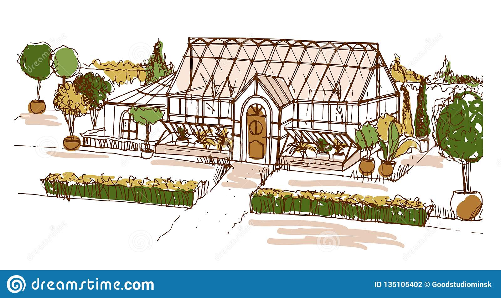 Style De Veranda Moderne colored freehand drawing of glasshouse or building