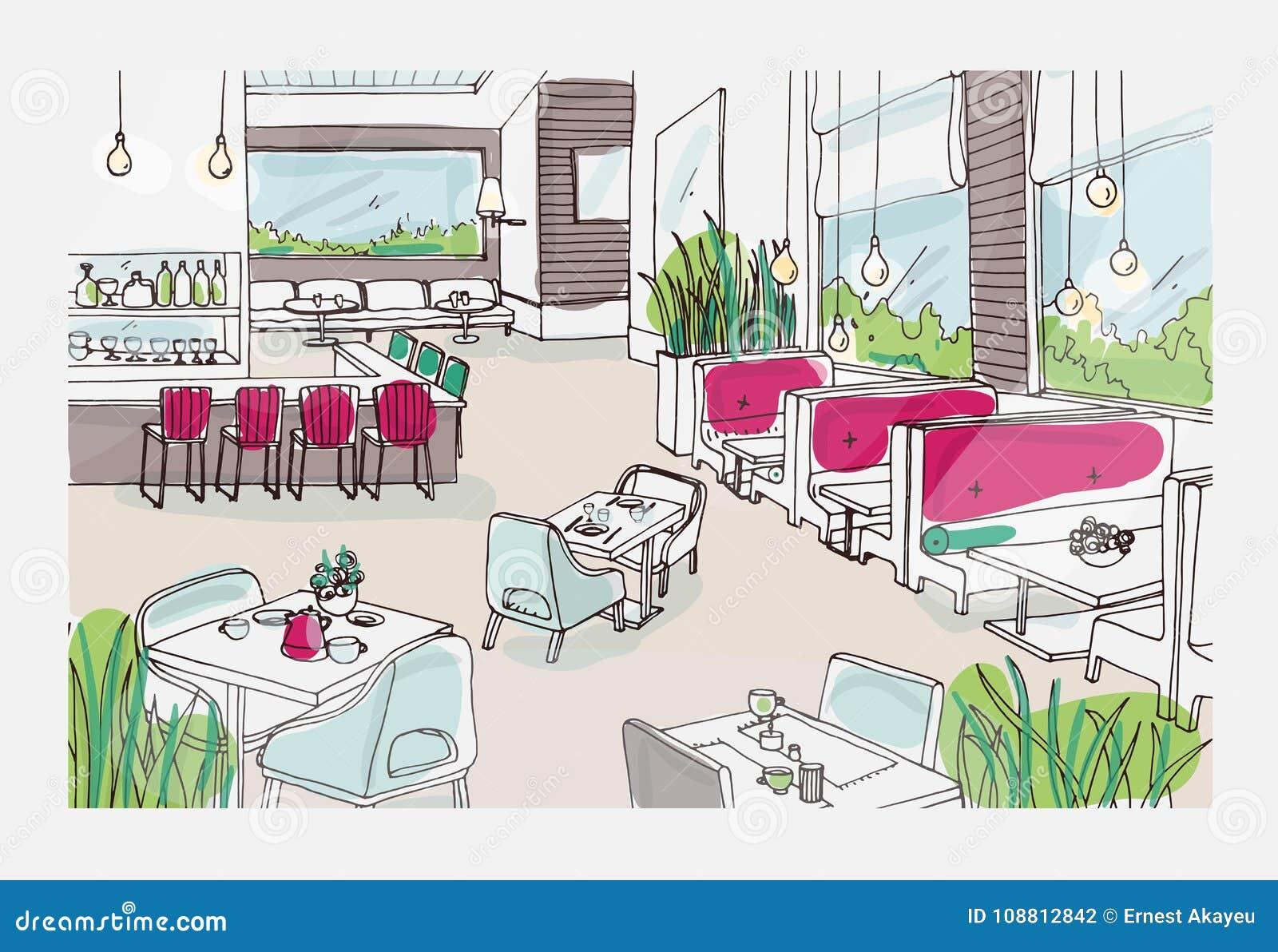 Style De Veranda Moderne colored freehand sketch of furnished interior of fancy