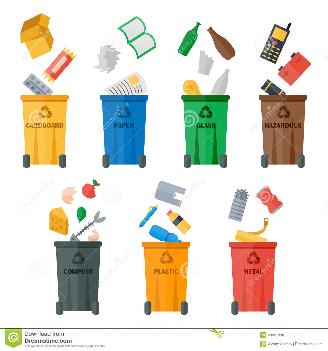 Trash Types Segregation With Recycling Bins Vector