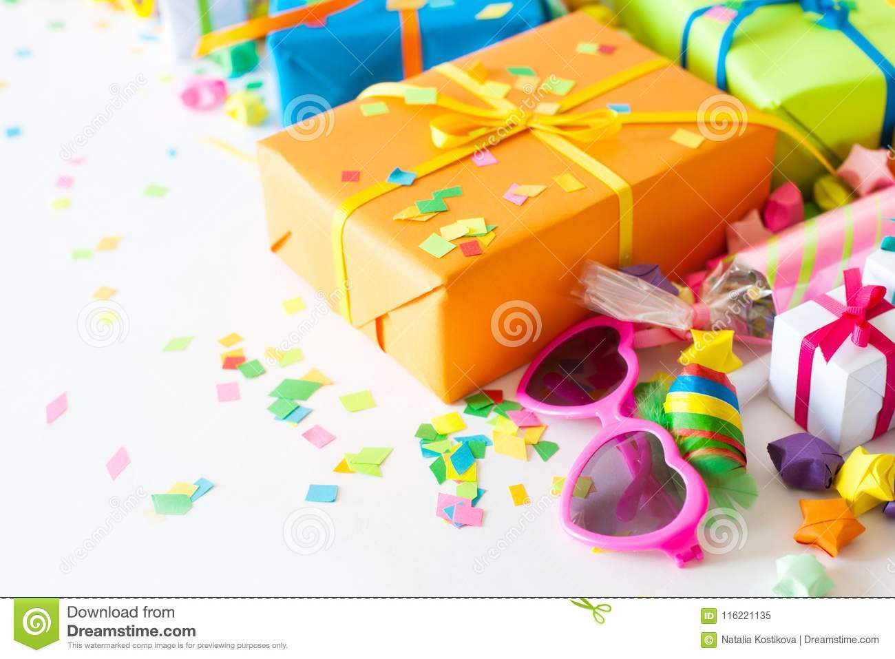 Gifts For Christmas Or A Birthday Colored Gift Boxes With Color