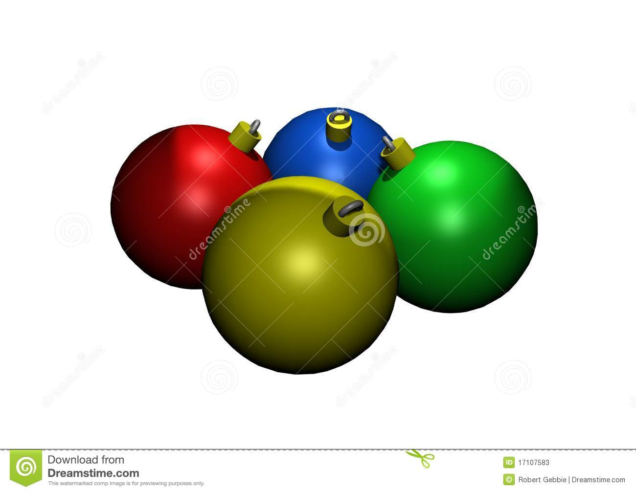 Colored Glass Christmas Ornaments In 3D Stock Photos ...