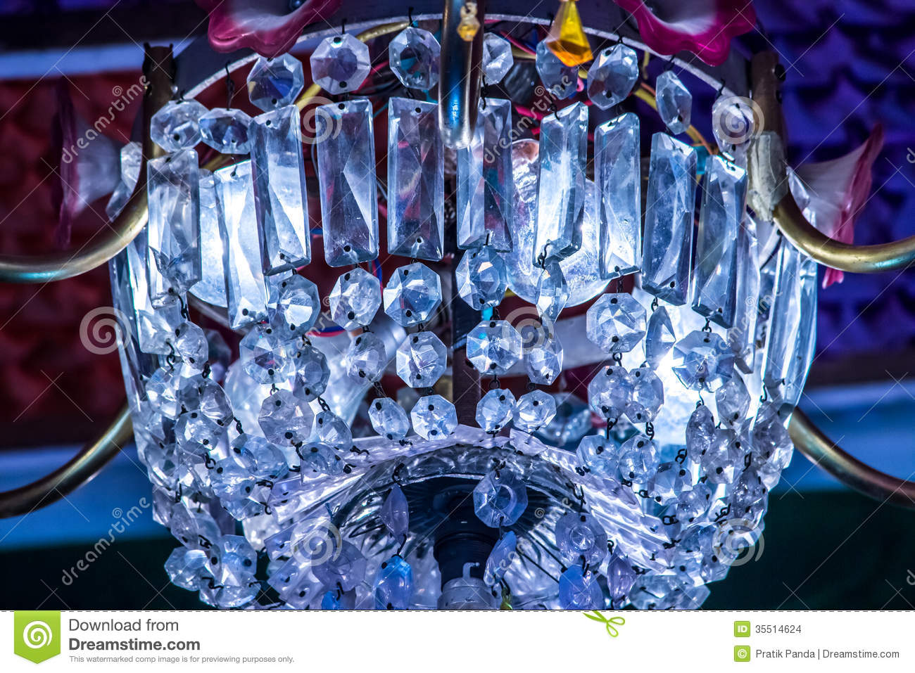 colored glass crystal chandelier stock photo   image 35514624