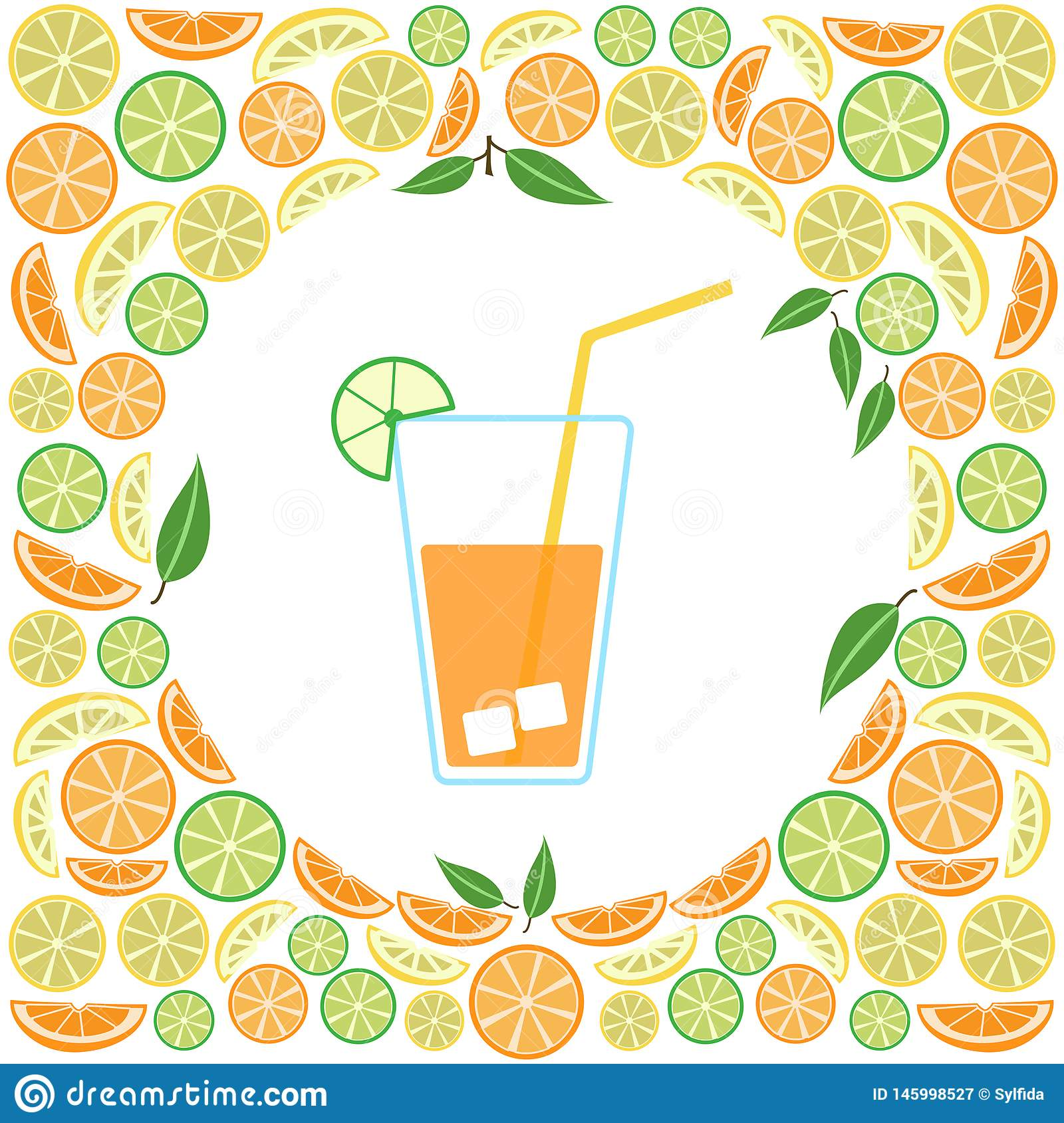Colored glass of juice on a citrus background, vector