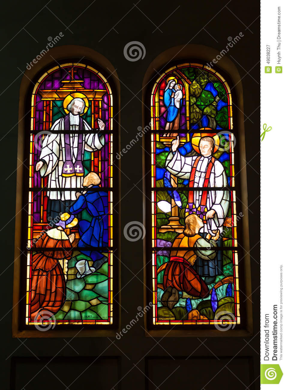 Colored glass, stained window church gothic