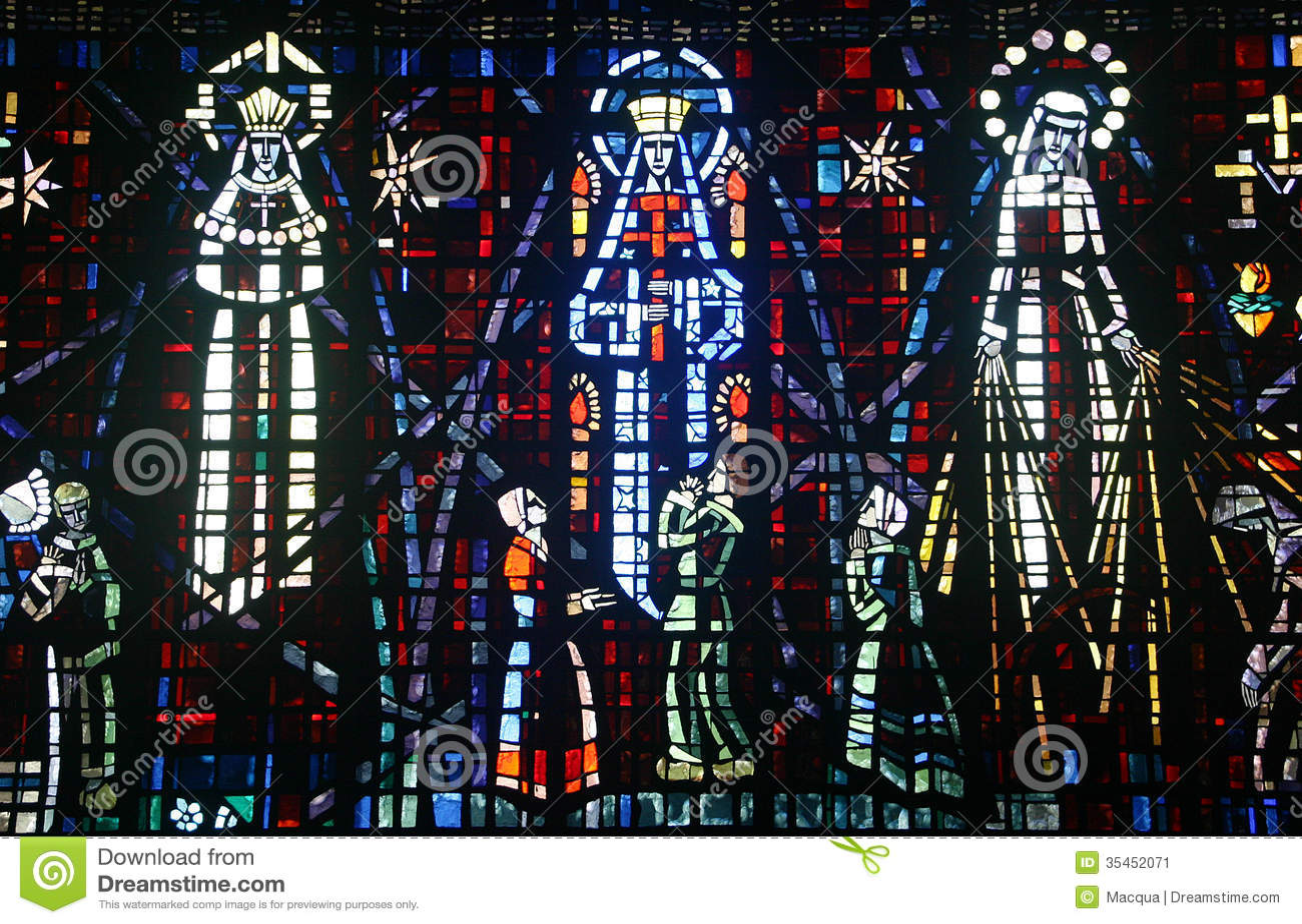 Colored glass window - Church - Notre Dame de Lourdes - Casablanca Morocco