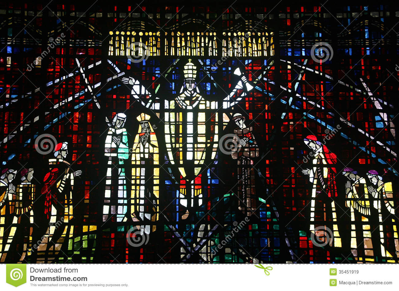 Colored glass window in the church of Notre Dame d