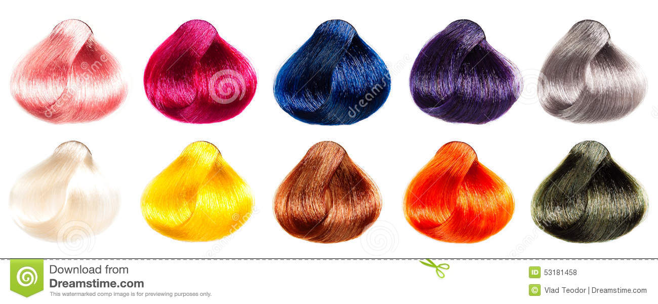 Colored Hair Samples Stock Photo Image Of Black Group 53181458