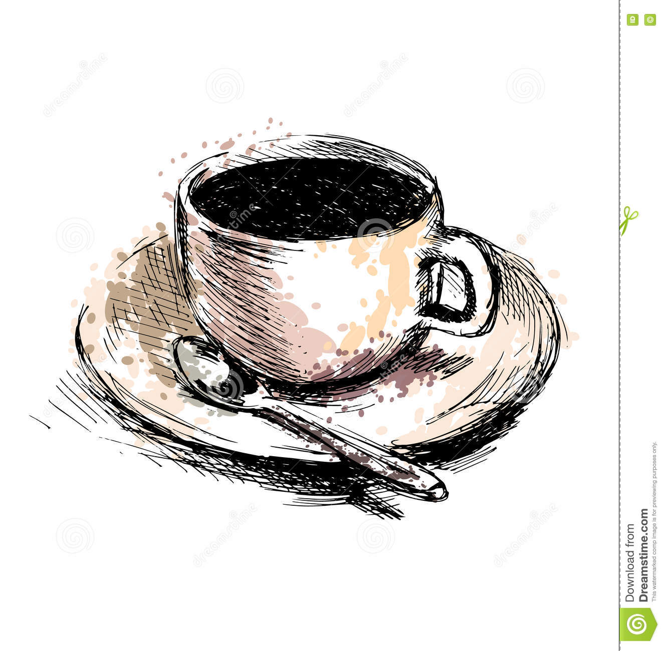 Coffee cup sketch - Royalty Free Vector Download Colored Hand Drawing Coffee Cup