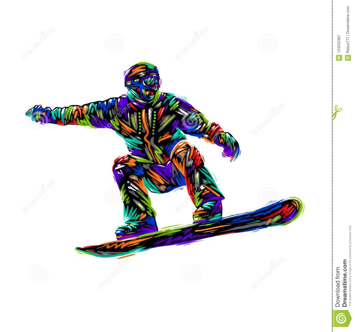 baf34a3ee65f Colored hand drawing sketch snowboarder on a grunge background. Vector  illustration snowboard design art. More similar stock illustrations