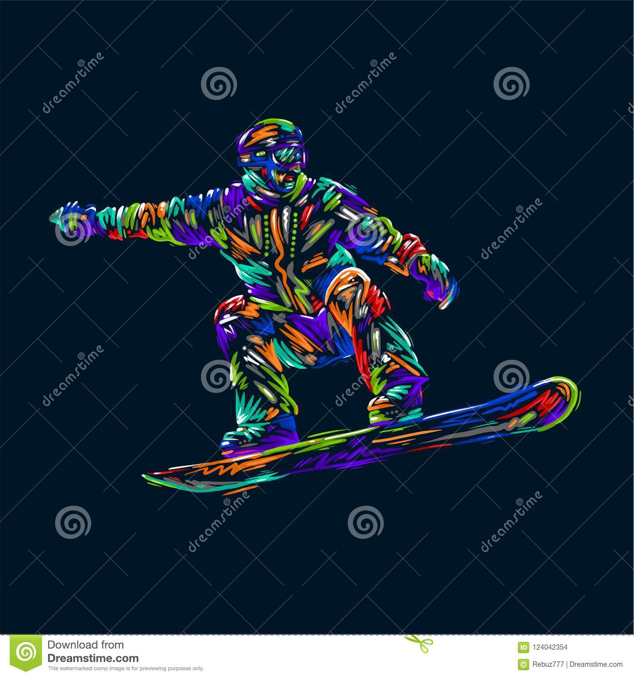 Colored hand drawing sketch snowboarder on a grunge background. Vector illustration snowboard print design art