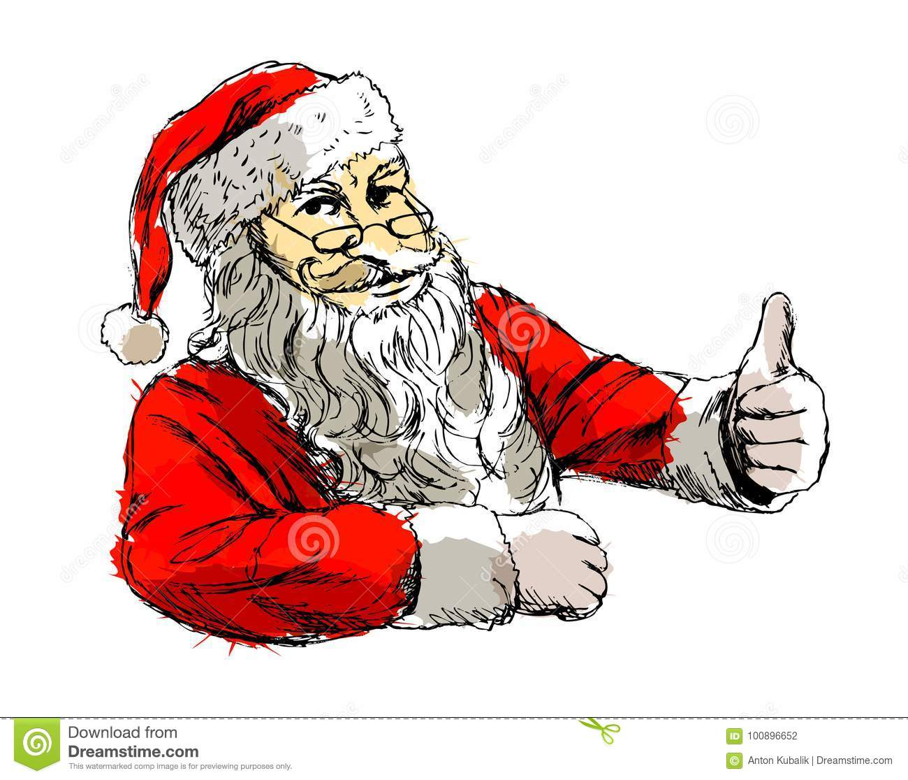 colored hand sketch santa claus