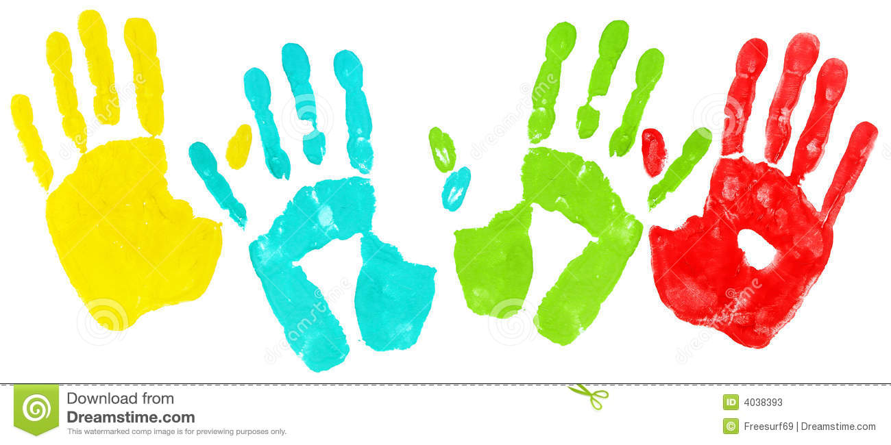 Colored Handprints Stock Photos - Image: 4038393