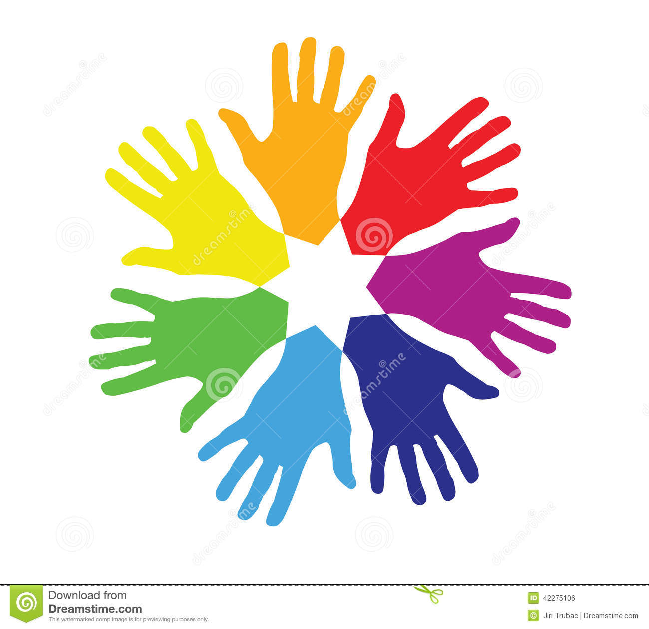 Colored Hands In A Circle Stock Photo Image 42275106