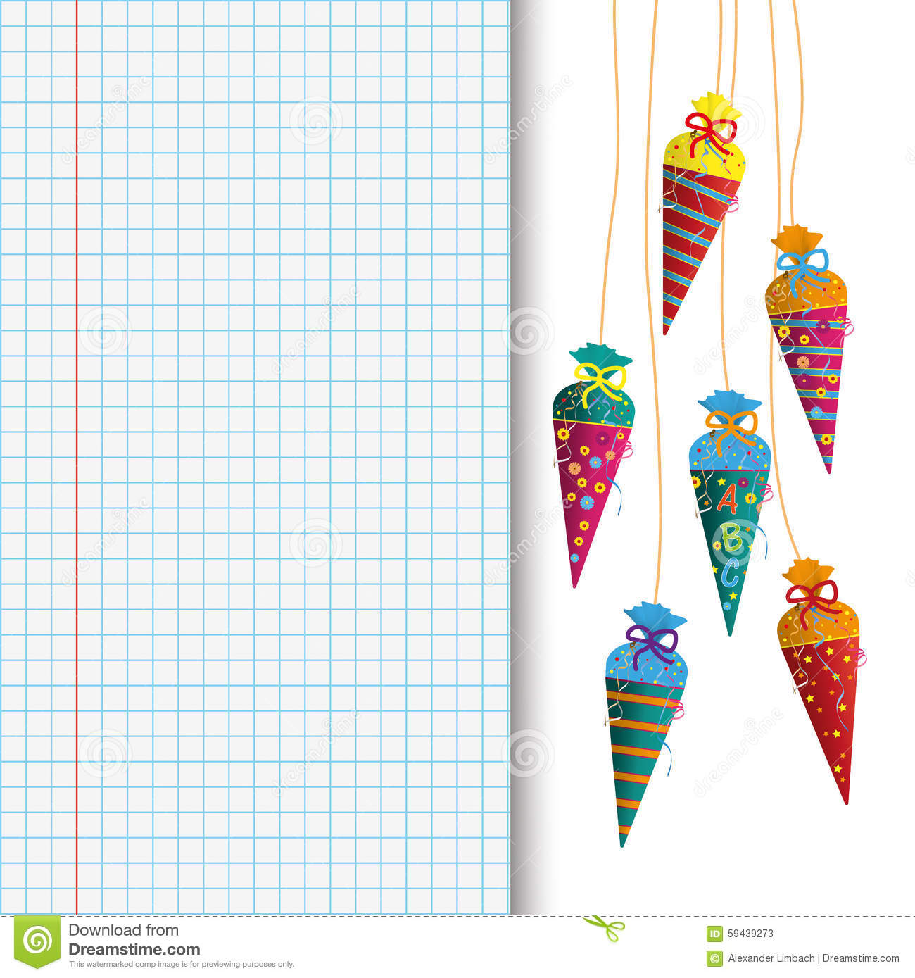 Colored Hanging Candy Cones Checked School Paper