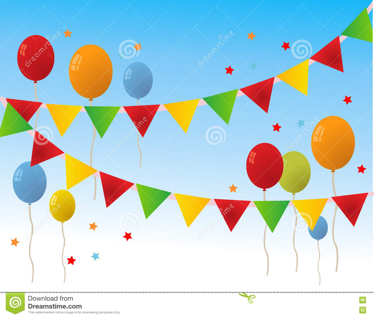 Colored Happy Birthday Balloons Banner Stock Vector ...