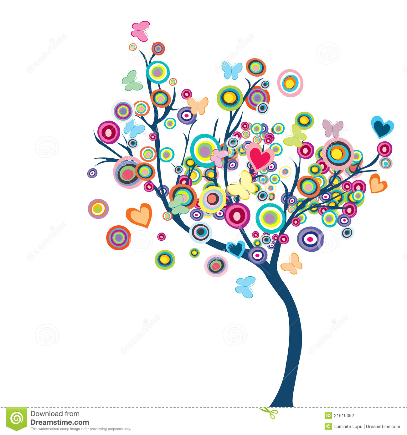 Colored Happy Tree With Flowers And Butterflies Stock Photography ...