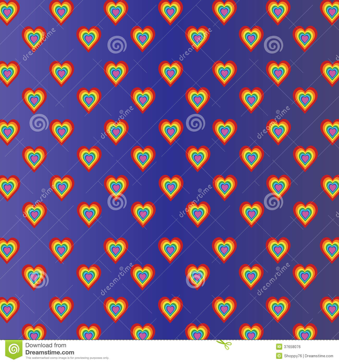 Colored hearts in violet blue gradient background
