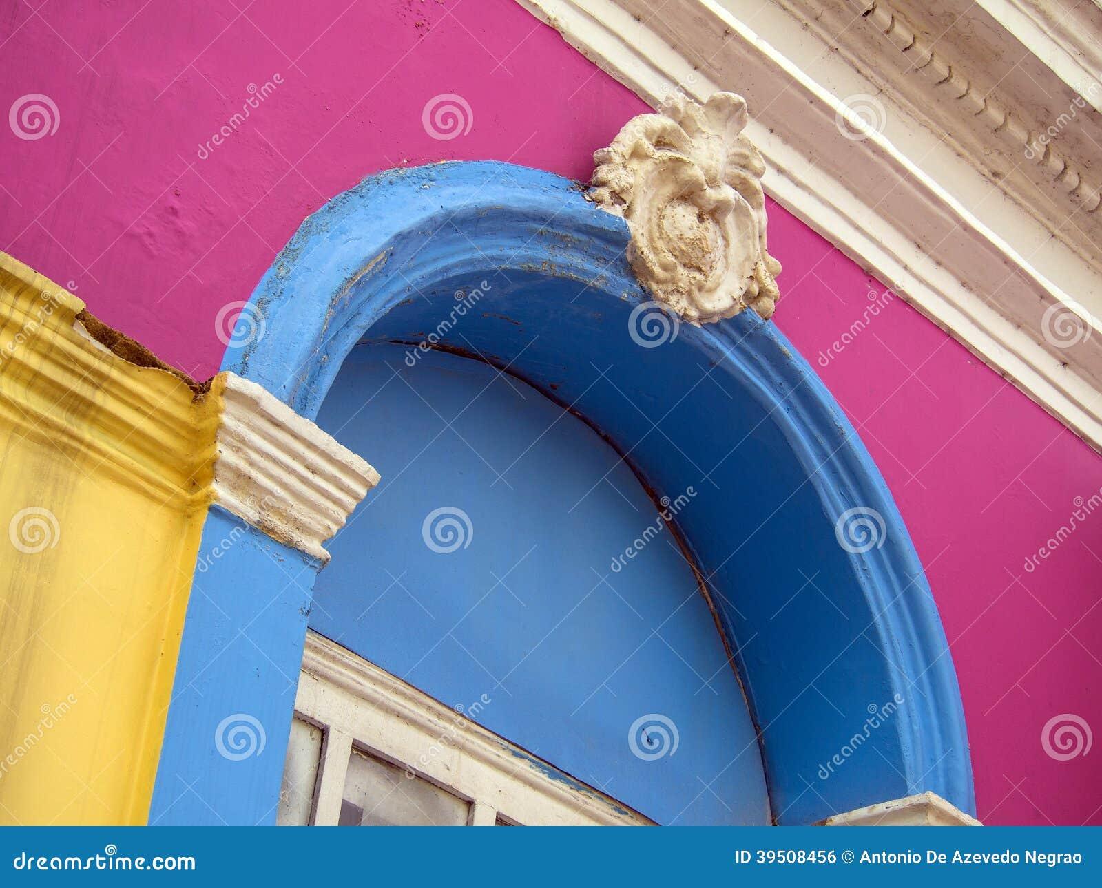 Colored house facade